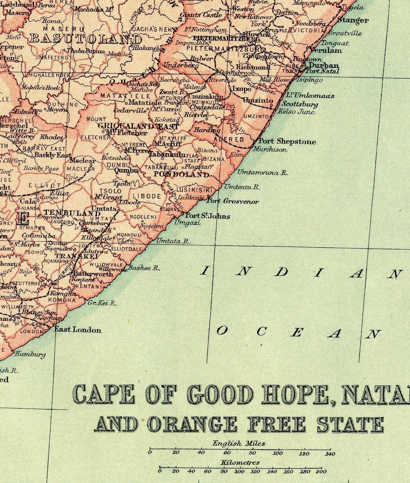 1920 Antique Map SOUTH AFRICA Orange Free State CAPE OF GOOD HOPE Natal